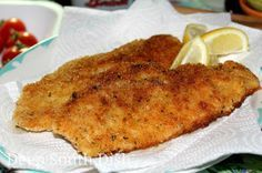 Crispy Pan-Fried Catfish from Deep South Dish blog. Catfish fillets, breaded with seasoned flour and panko bread crumbs and pan fried - fast and easy and the perfect fish for sandwiches or tacos.
