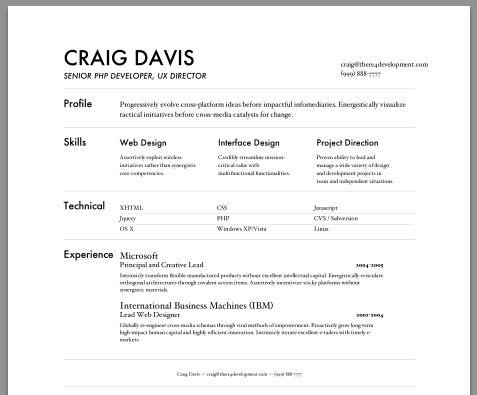 sample resume output - Creative Resume Builder