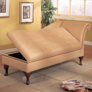 Furniture. Contemporary Chaise Lounge for relax. Brown Leather Modern Chaise Lounge Design Come With Tufted Seating And Also Arm Together Curve Varnished Wooden Legs As Well As Storage Space Underneath Seat