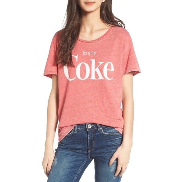 Women's Junk Food Enjoy Coke Tee ($50) ❤ liked on Polyvore featuring tops, t-shirts, washed red, red top, junk food clothing, graphic print tees, graphic design t shirts and graphic print t shirts