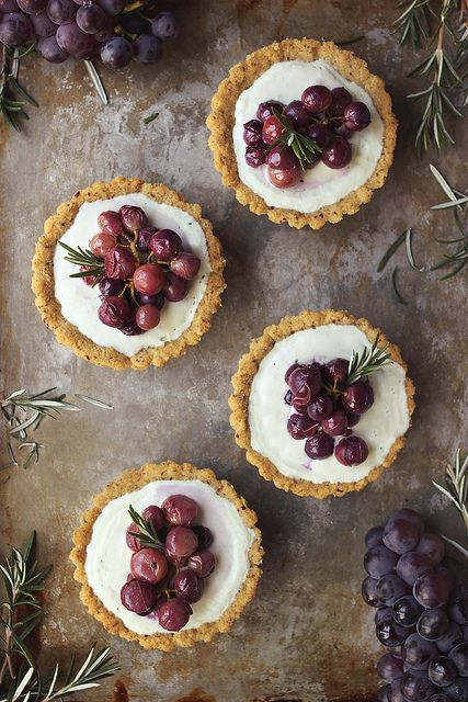 Roasted Grape and Rosemary Savory Goat Cheese Mini Tarts.