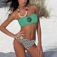 monogrammed baithing suits | Monogrammed Navy Bathing Suit Bandeau Tube Top