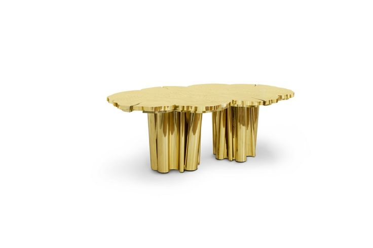 Representing the essence of empowerment, sophistication, mystics, and enticement, the Fortuna features a one of a kind design, with a unique table surface texture and incredible finish. | www.bocadolobo.com #bocadolobo #luxuryfurniture #exclusivedesign #interiordesign #designideas #contemporarydiningroom #contemporarydiningtable #gold