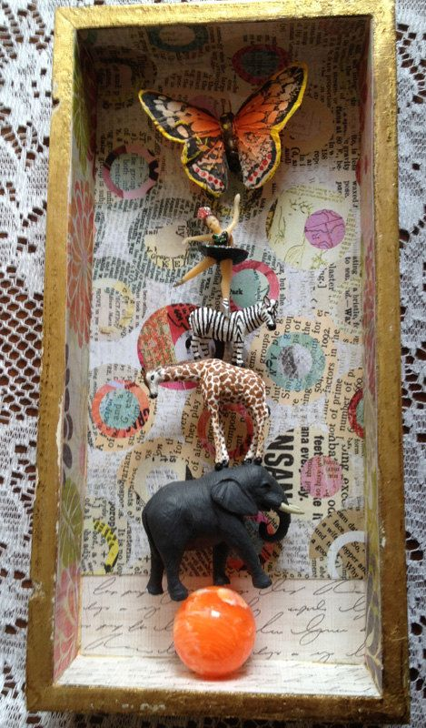 Mixed Media 3D Collage Box  A Little Help From by BombshellKittens, $39.50