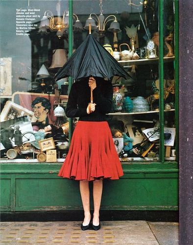 I love umbrellas...and that fab red skirt!