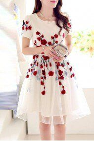 Crepe Semi Stitched Party Wear Dress In Off White Colour