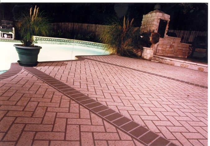 Red Brick Borders Concrete Pool Decks Sundek Of Austin