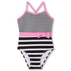 Toddler Girls' Striped 1pc Swim Suits - Black