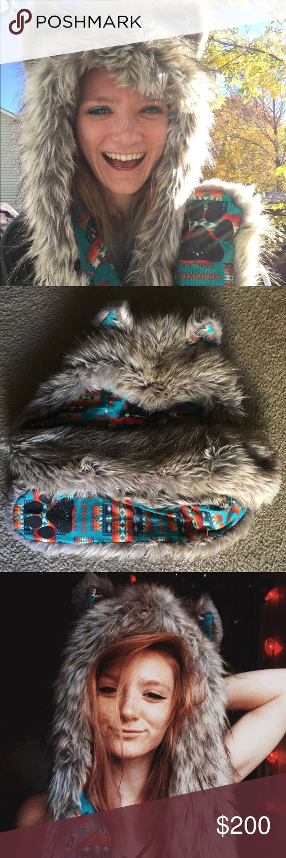 silver coyote spirithood with HB3 speakers like new, comes with built in speakers & an aux cord pocket so you can groove to some tunes :) SpiritHoods Accessories Hats