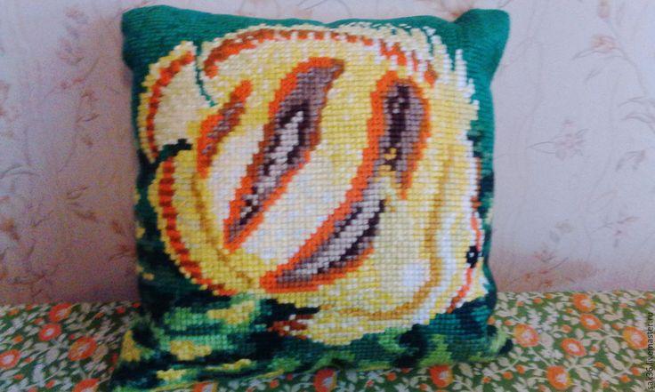 Купить Подушка вышитая крестиком - комбинированный, вышитая подушка, подушка вышитая крестиком, думочка