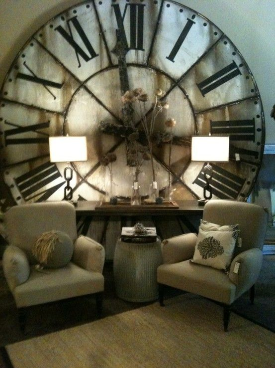 Giant antique clock / WowDecor, Big Clocks, Ideas, Dreams, Interiors Design, Living Room, Antiques Clocks, Wall Clocks, House