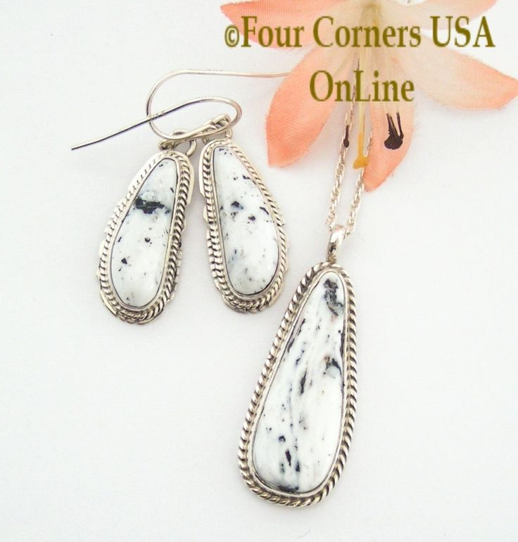 Four Corners USA Online - Sacred White Buffalo Turquoise Earrings Pendant Set Native American Silver Jewelry, $244.00 (http://stores.fourcornersusaonline.com/sacred-white-buffalo-turquoise-earrings-pendant-set-native-american-silver-jewelry/)