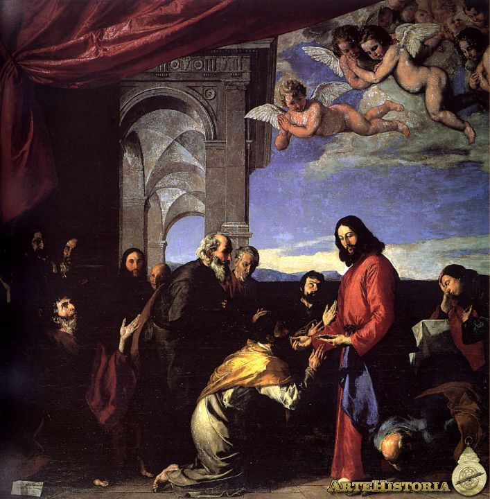 La comunión de los apóstoles - 1651. En ella auna, con gran maestría técnica y dominio del dibujo y del color, la tradición veneciana, con arquitecturas solemnes, amplio celaje y lujosos cortinajes, con la tradición boloñesa, dominada por un cierto sentido escultórico monumental.
