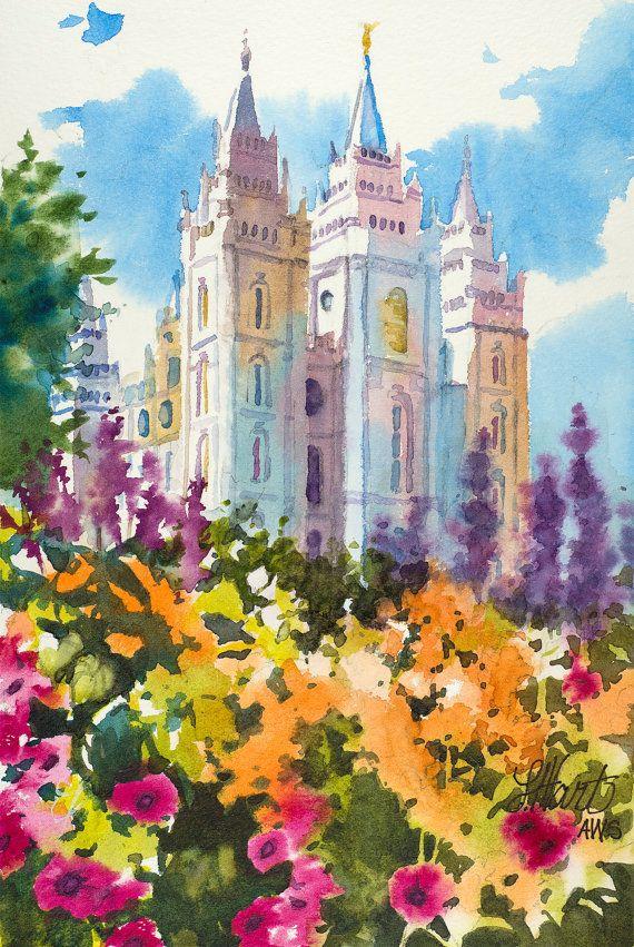 Salt Lake LDS Temple Painting, Salt Lake Temple Spring Painting, Utah LDS Temple Painting, LDS Art, Spring Watercolor Painting