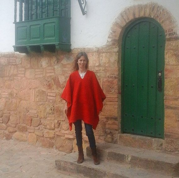 Hand-loomed poncho / 100% Pure Wool / Bright Red / by CasaLunaCo