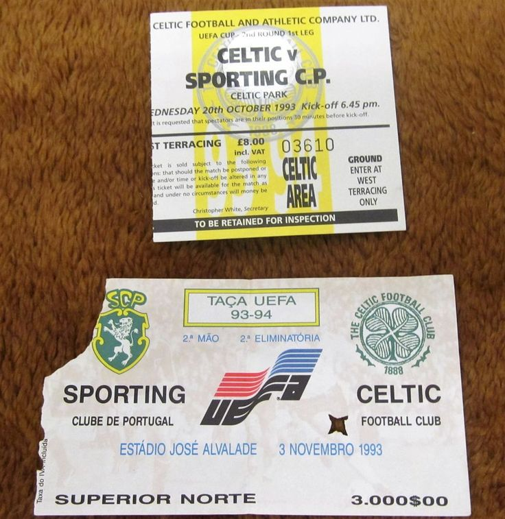 SPORTING LISBON  V  GLASGOW CELTIC FC UEFA CUP 1993  HOME AND AWAY TICKETS. | eBay