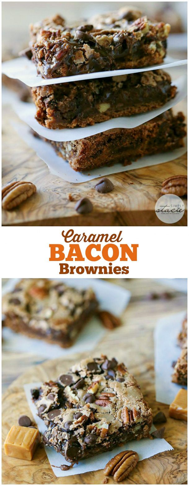 Caramel Bacon Brownies - Bacon for the win in this chocolatey treat! These Caramel Bacon Brownies are rich, sweet and easy to make.