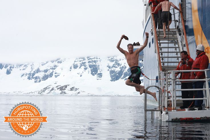 David Meerman Scott #hubspotting on a polar plunge in Antarctica- thats one of our cozy hats in his hand!