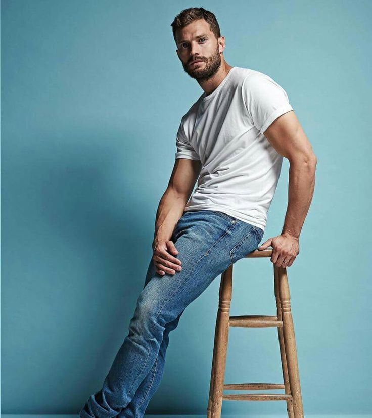 Jamie Dornan looks the best in jeans and t-shirt.