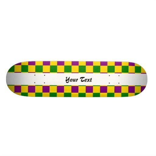 Mardi gras checkered pattern custom skate board