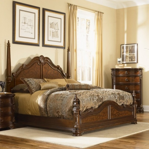 Antique Classic Elegant And Graceful Four Poster Wooden Beds Design In Chestnut Finish Beds To