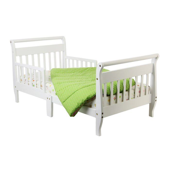 A simplistic design, the Dream On Me Toddler Sleigh Bed with Safety Rails is the perfect addition to your kid's room. Made using solid pine wood, its solid wood construction ensures years of reliable use. The bed is available in multiple finishes and is perfect for transitional interiors. A sleigh design, it includes detachable bed rails on either side of the bed, which ensures safety. The bed is designed with a slat system and includes six slats, which enables mattress longevity. The bed...