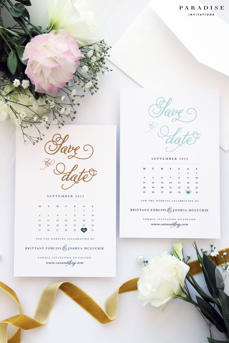 Brianna Sky Blue and Gold Save the Date Cards, Modern Calligraphy Calendar Save the Date Cards, Beach Wedding Save the Date