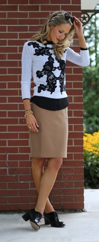 black lace applique sweater, tan pencil skirt, black lace bib front shirt + oxford heels