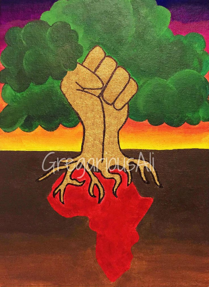 This symbolizes Black power and pride. Africa is shown as from which the roots birth aforementioned Black power.  Originally an acrylic painting on canvas.  Watermark as pictured is not included on the actual print.