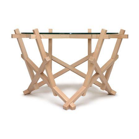18 piece interlocking structure, no glue, no nails.  6x3 Burr Puzzle Table by Petar Zaharinov.