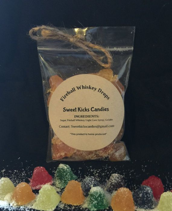 Fireball Whiskey Drops Candy gummy drops made by SweetKicksCandies