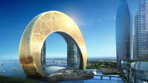 "When completed in 2015, Hotel Crescent at Azerbaijan will stand on the banks of the Caspian Sea, its 33-stories housed in a vast, down-turned crescent. A sister project was proposed called the Full Moon Hotel that would have brought something resembling the Death Star from ""Star Wars"" to the Caspian coastline."