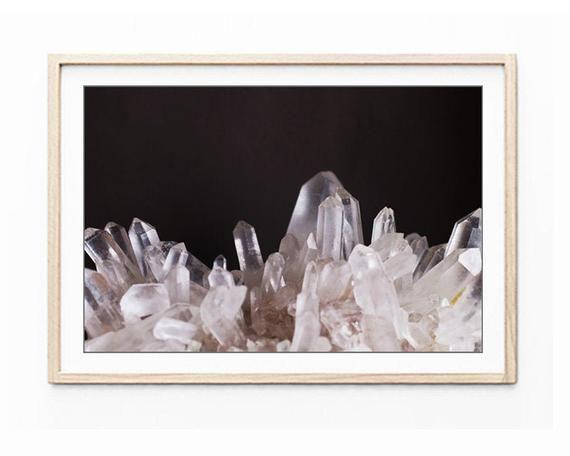 Crystal Wall Art Mineral Print Nature Photography Black