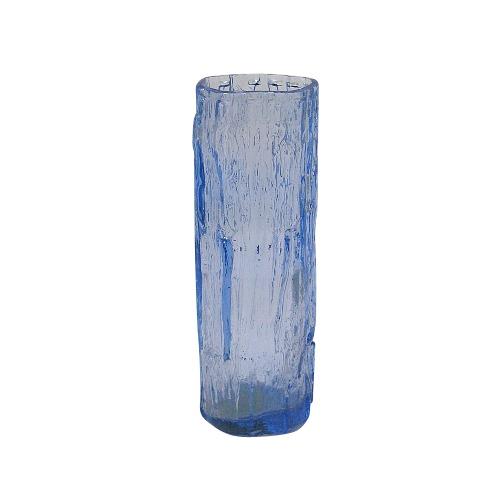 Ice Blue Ravenhead Textured Bark Glass Vase