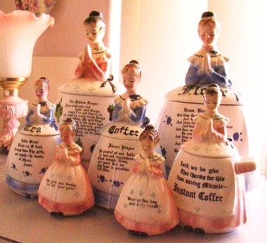"""Mother in The Kitchen and Prayer Ladies are vintage kitchen accessories and made by Enesco and are turning out to be a pretty """"HOT"""" collectible today. Prayer Lady/Mother in The Kitchen items were made during the 1950's & 1960's and sold primarily in five and dime stores, department shops and also gift shops."""