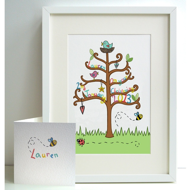 Unframed Personalised A4 Girl's Christening Print with coordinating card from Helen McCartney Designs