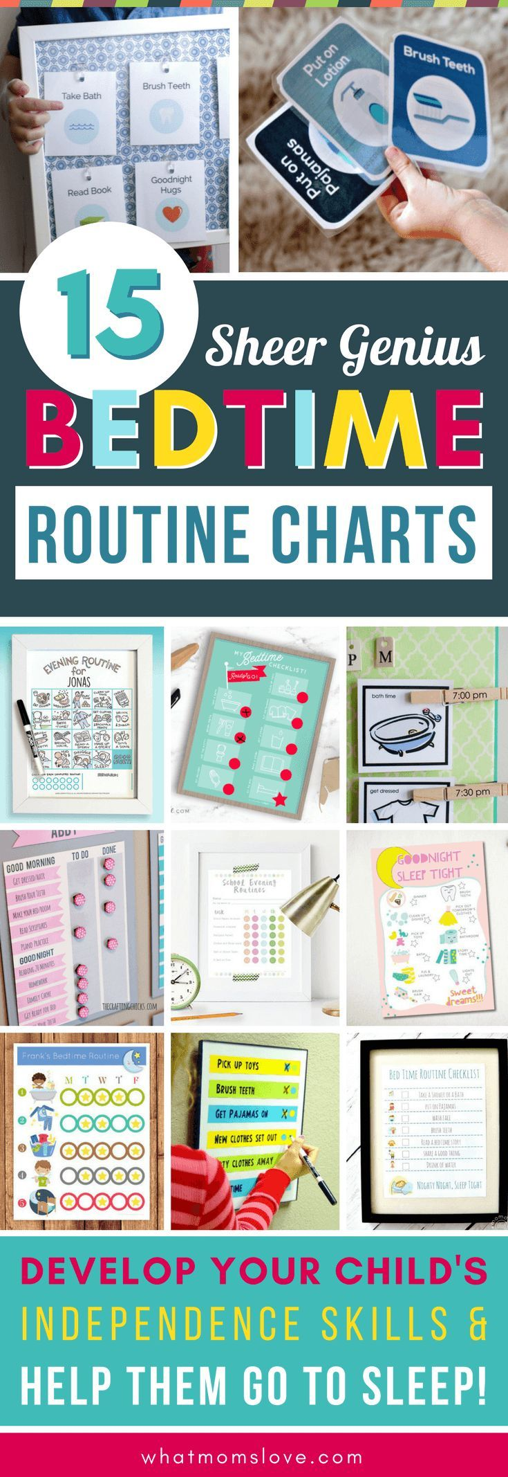 Printable DIY Bedtime Routine Charts for Kids | Fun night time chore charts for toddlers and beyond to help them wind down for bed and get more sleep! Perfect for back to school or revamping your family's sleep schedule