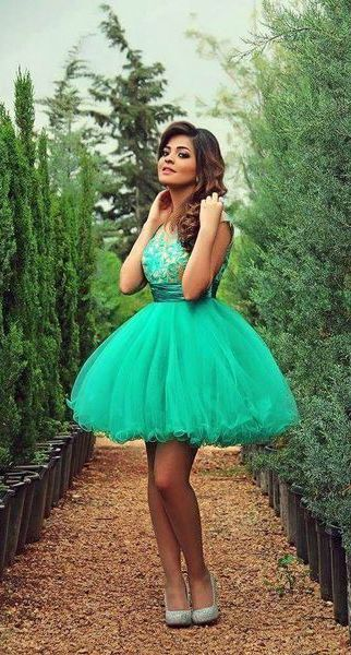 Light Turquoise Homecoming Dress,Tulle Homecoming Dresses,Ball Gown Homecoming Dress,Lace Party Dress,Short Prom Gown