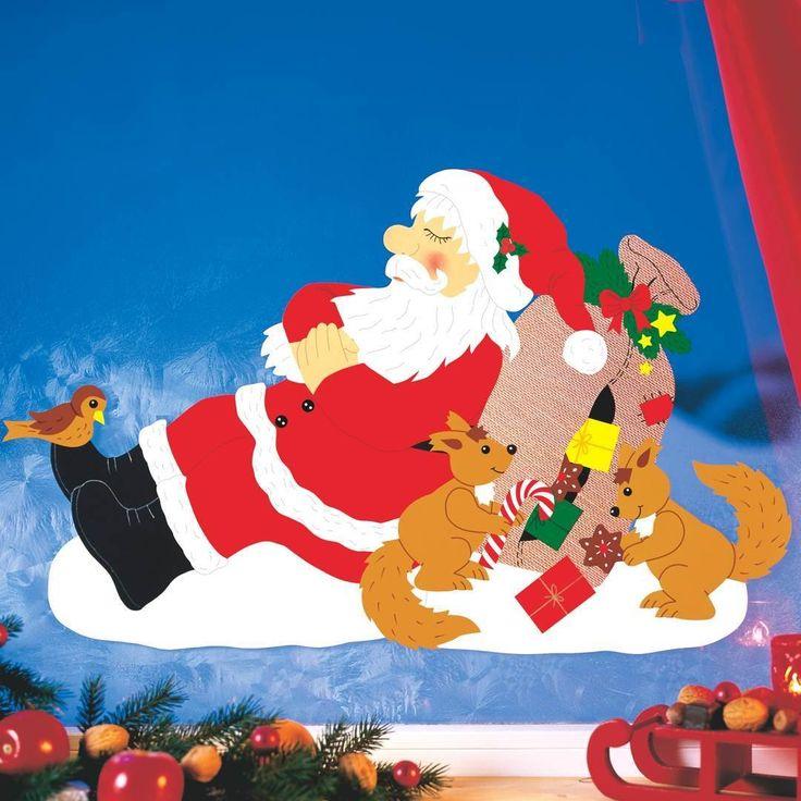 Die besten 25 weihnachtsmann basteln tonpapier ideen auf pinterest weihnachten 3d basteln - Fensterbilder weihnachten ...