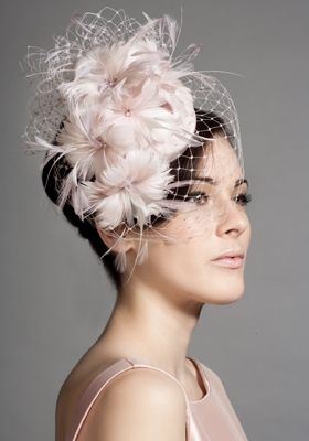 Soft pink silk taffeta feather flower pillbox with face veil  Rachel Trevor-Morgan