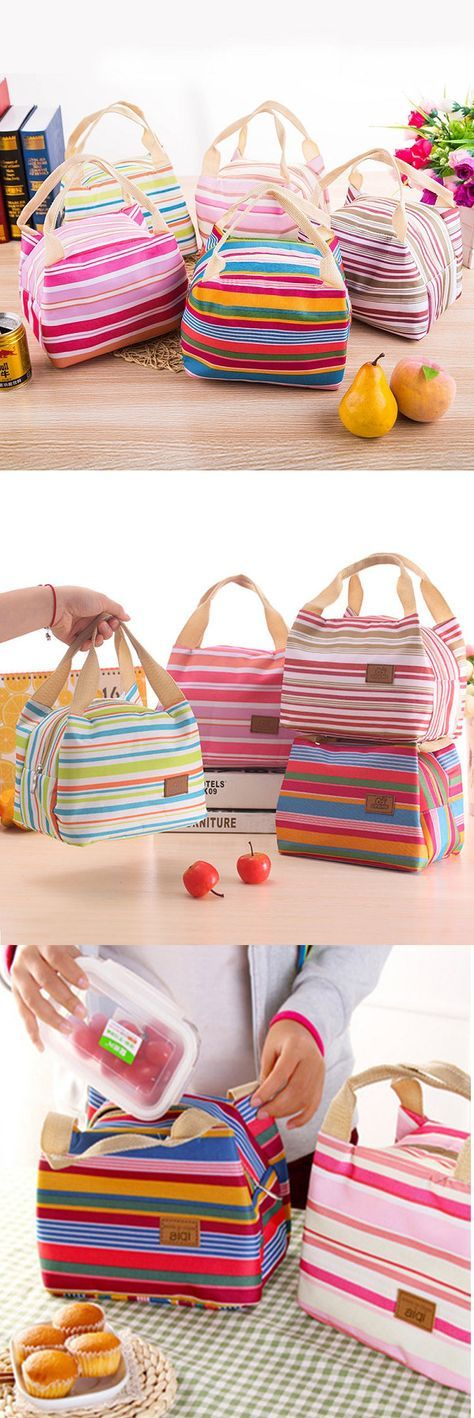 US$4.99 SaicleHome Oxford Waterproof Lunch Tote Bag Cooler Insulated Handbag Zipper Storage Containers