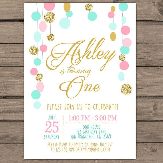 Pink mint Gold glitter Birthday invitation by Anietillustration