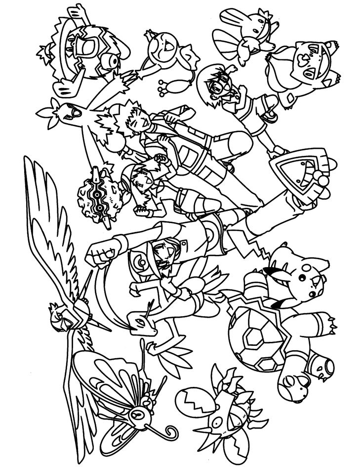 pokemon group coloring pages - photo#11