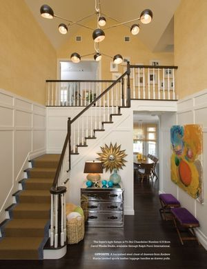 this is the shape of my stair case - love the molding good idea for high ceilings