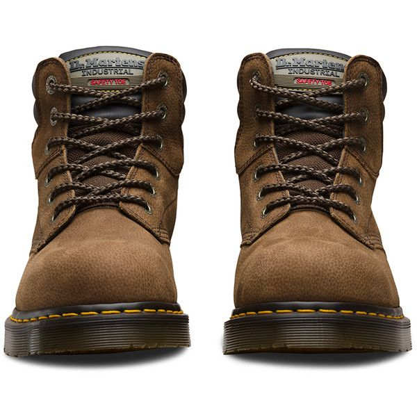 Dr. Martens Leather Hynine Safety Toe Boots ($140) ❤ liked on Polyvore featuring shoes, boots, brown, steel toe caps, brown leather boots, dr martens boots, leather steel toe boots and real leather boots
