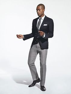 mens navy blazer with grey pants with checked shirt
