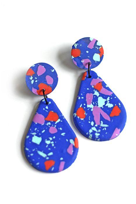 Terrazzo drop earrings blue Earrings, Drop earrings