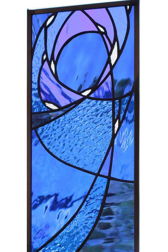 Stained glass window panel in blue night sky by SolarResonance, $190.00