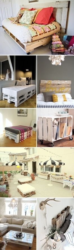 DIY pallets ideas. Love the pallet coffee table - paint coordinating color with accessories