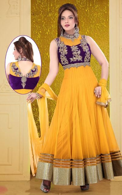 Yellow Net Resham Work Ankle Length Anarkali